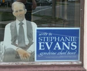 Evans election sign at the Ohio Tap Room